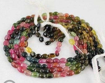 VALENTINE SALE 55% 14 inches, 6-8mm, Natural Watermelon Tourmaline Smooth Polished Oval Beads Strands, SKU1754/S