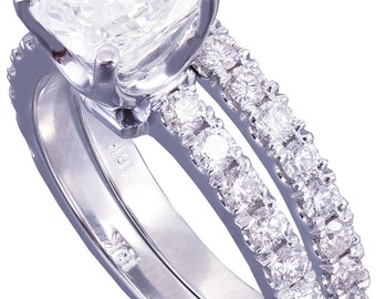 GIA I-VS2 18k White Gold Cushion Cut Diamond Engagement And Band Novo 1.68ct