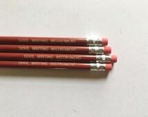 Engraved pencils, fun pencils, imprinted pencils, Red office decor, Soul Writing Instrument pencils