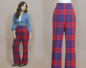 Plaid Bell Bottoms 70s High Waisted Pants Flared Madras Wool Red Blue 1970s Hippie Tartan Plaid High Rise / Size S Small