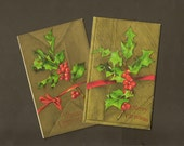 Festive Holly on a Lavish Gold Background – Pair of Embossed Vintage Christmas Postcard Unused Robbins Brothers