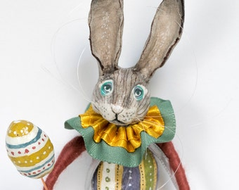 OOAK hand crafted Easter egg hare rabbit art doll spun cotton ornament