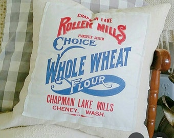 Vintage Flour Sack Pillow Cover