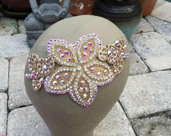 Gold Swarovski Crystal AB Flower Scroll Hairpiece