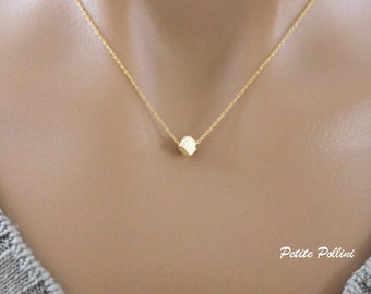Minimalist Cube Necklace in Matt Gold/ Silver. Simple and Chic. Understated Elegance. Timeless. Gift For Her. Unique Gift (PNL- 70)