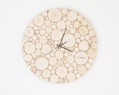 Custom order for Annie & David: natural white birch forest wood clock (extra large)