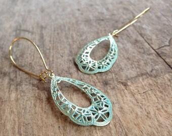 Patina Filigree Earrings, Patina Earrings, Tear Drop Earrings, Tear Drop Filigree, Bohemian Earrings, Bohemian Jewelry