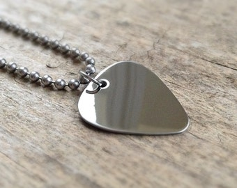 Festival Fashion, Men's Shiny Guitar Pick Necklace, Music Necklace, Guitarist Necklace, Stainless Steel, Bohemian Jewelry