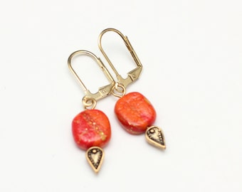 Orange Leverback Dangle Earrings Hypoallergenic Ear hooks for Sensitive Ears Active Lifestyle Jewelry