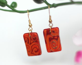 Spice Colored Mokume Gane Earrings - Polymer Clay Tabs - Bohemian - Wedding Jewelry - Bridal Earrings - Bridesmaid Gift - OOAK Earrings