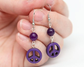 Purple Peace Sign Earrings - Violet dyed Howlite - Violet Dyed Jade - Hypoallergenic Earrings - Festival Jewelry - Hippie Fashion