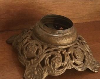 Vintage Ornate Iron Lamp Base - Assemblage Supply