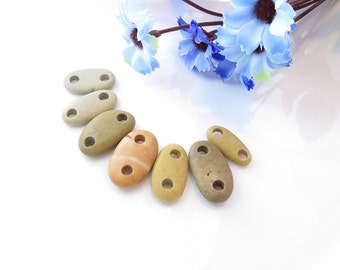 Beach Stone Buttons, Rock Buttons, Natural Stone Buttons, Organic Knitting Buttons, earthy buttons, Beach Stone Connectors, Jewelry Supplies