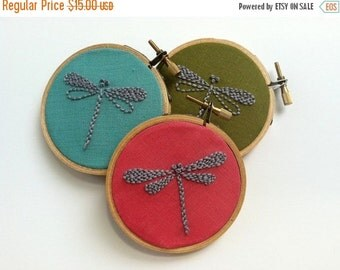 """On Sale Hand embroidered dragonfly. 3"""" hoop. bridesmaids' gift. home decor. nursery decor. party favor, hostess gift.  hand embroidered by m"""