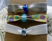 Elastic Hair Ties with Beads Set of Three Handmade