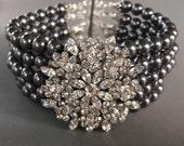 Gray Pearl Bracelet with Swarovski Pearls in Charcoal Dark Grey Swarovski pearls with rhinestone focal wedding bridal Mother of the bride