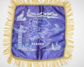 Alaska State Tourist Souvenir Pillow Cover-Purple and Gold Satin-All things Alaska State