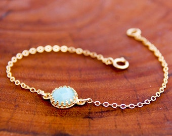 Gold Amazonite Bracelet Minimalist Bracelet with 14k Gold Fill Chain Delicate and Dainty Gold And Blue Gemstone Bracelet Mothers Day Gift