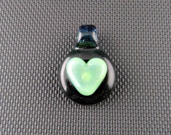 Heart Glass Pendant // Ice Blue & Slyme