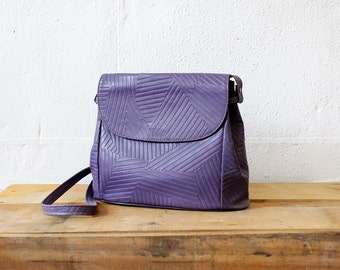 Purple Purse • Embossed Crossbody Purse • 80s Bag • Vegan Leather Bag • Purple Bag • 80s Purse • Faux Leather Purse • Hipster Bag |B593