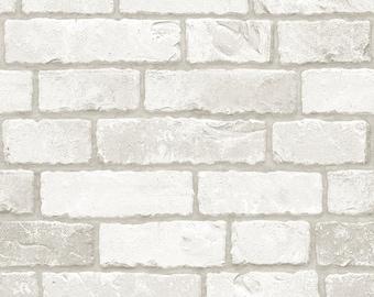 White Real Brick 3m * WB-633 Brick  Pattern Vinyl Self Adhesive Peel-Stick Wallpaper Interior Sheet