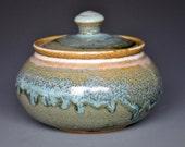 River Stone Blue Jar Small Ceramic Stoneware Sugar Bowl E