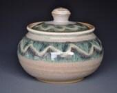Light Wave Ceramic Jar Small Pottery Stoneware Sugar Bowl C