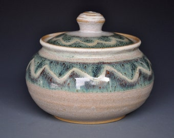 Light Wave Ceramic Jar Small Pottery Stoneware Sugar Bowl C