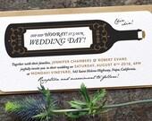 Modern Vineyard Wedding Invitation / 'Wine Bottle' Rustic Winery Wedding Invite / Black Gold Copper / Custom Colours Availalble / ONE SAMPLE