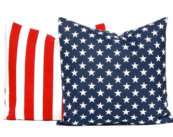 Throw Pillow Covers - Red White and Blue - Military Decor - Decorative Pillow Covers - Stars and Stripes Pillow Covers - Flag Pillow