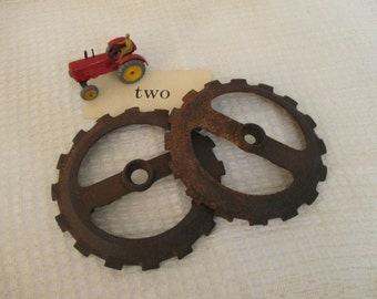 Vintage Farm Salvage - Farm Equipment Gear - Garden Art Decor - Industrial Decor - Assemblage Art - 2 in Lot