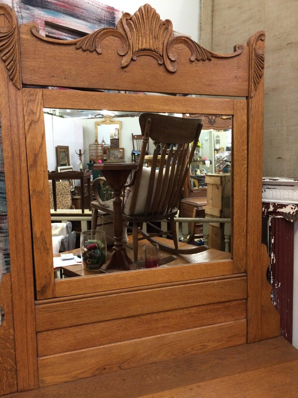 Antique Oak Dresser Large Antique Mirror Original Pulls