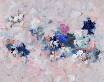 Large Abstract Painting Flower Painting Blush Blue Pink Navy 24 x 30 Sing and Dance  Swalla Studio