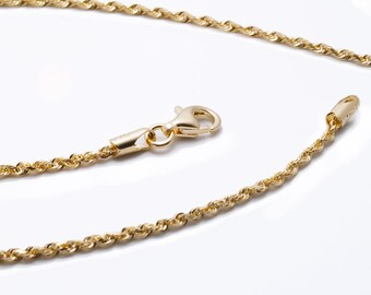 14k gold rope chain - 1.5mm - 18 inches