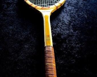 Vintage UNUSED BANCROFT Super Winner Wood Tennis Racquet 4 5/8 Med.  Leather Grip Gut