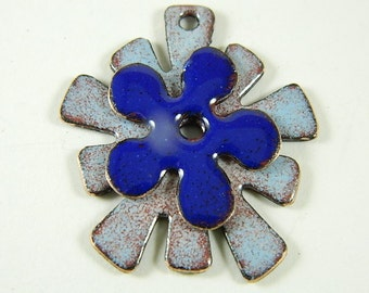 Stacked Blues  Enameled Center Drilled Jewelry Components