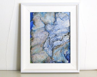 Small framed original painting, pale blue green abstract art, watercolor ink mixed media, Paper Topography 4