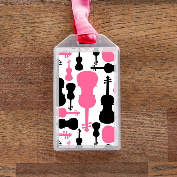 Violin Instrument Case ID Tag or Luggage Tag for Musicians - Pink and Black