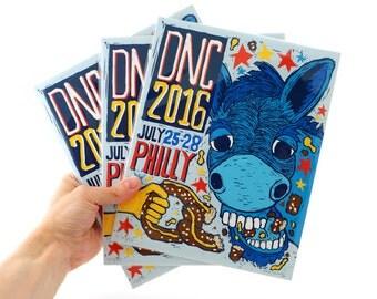 Democratic National Convention Limited Edition Art Print - Linocut Illustration 2016 DNC Philadelphia, Political Poster, Souvenir Art print