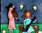 Evening Music acrylic painted on canvas 8x10 illustration whimsical