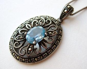 Vintage Art Deco Aquamarine Sterling Silver Filigree Marcasite Necklace Pendant & Chain