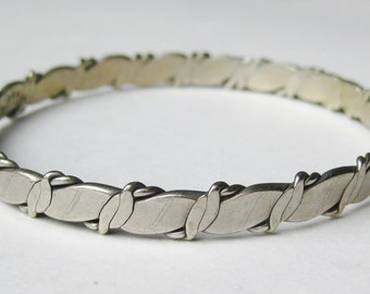 Vintage 50s Taxco Mexican Sterling Silver Mid Century Studio Jewelry Bangle Bracelet