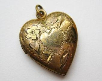 Vintage 10k Gold Filled Sterling Silver Sweetheart Heart Shaped Locket Necklace Pendant