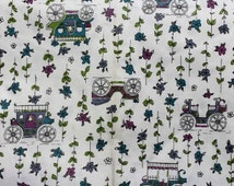 Novelty Print Fabric - Over 1.5 Yards x 36 1/2 Inches Wide - Antique Automobiles - Horseless Carriages - Stagecoaches - Old Cars - 45688