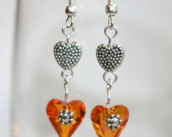 Dangle Heart Earrings Wild Heart Pink Astral Swarovski Crystal Earrings