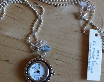 Watch Pendant Necklace, Watch Pendant Charm, Blue Charm, Aquamarine Birthstone, March