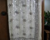 Beige Shear Sari Fabric with Brown Floral Motif