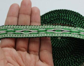 Uzbek green woven trim Jiyak. Ethnic Boho trim