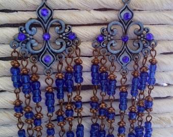 Oriental deep blue earrings