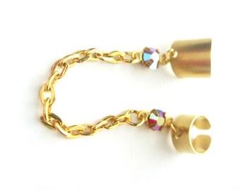 Ruby Ear Cuff - Crystal No Pierce Earring - Crystal Ear Cuff -  July Birthstone Jewelry - Double Ear Cuffs